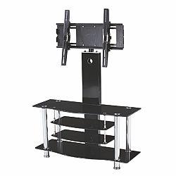 TEMPO KONDELA TV stolík, kov/sklo, čierne, JOE
