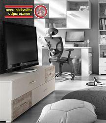 TEMPO KONDELA TV stolík/skrinka JU-63 , biela/dub canyon, DRAGO