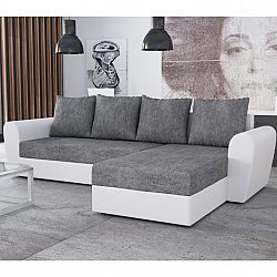 TEMPO KONDELA Univerzálna sedacia súprava, rohová, rozkladacia, s úložným priestorom, biela/sivá, OXFORD