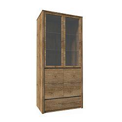 TEMPO KONDELA Vitrína s jednou zásuvkou a dvoma predelenými dverami - plnými a presklenými, dub lefkas, MONTANA W2D
