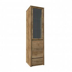 TEMPO KONDELA Vitrína s jednou zásuvkou a predelenými dverami - plnými a presklenými, dub lefkas, MONTANA W1D