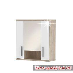 TEMPO KONDELA Závesná skrinka, dub sonoma/biela vysoký lesk, LESSY LI01