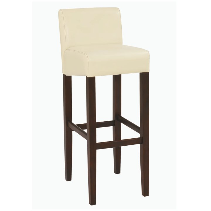 eb78c9582 TEMPO KONDELA Barová stolička, textilná koža krémová/drevo tmavý orech,  SORIN NEW
