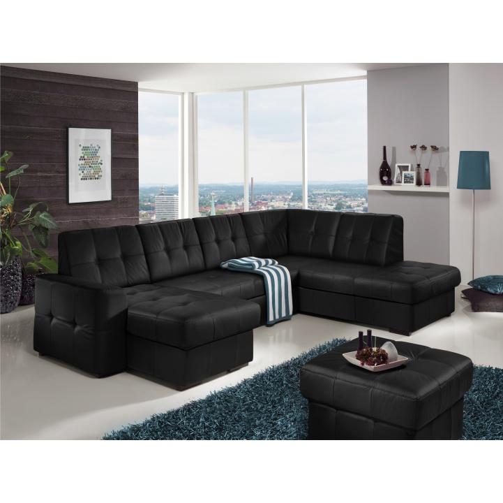 ecafbb4dc68ac TEMPO KONDELA Rozkladacia rohová sedacia súprava v tvare U s úložným  priestorom, P prevedenie, koža čierna YAK M6900, TREK SYSTÉM U